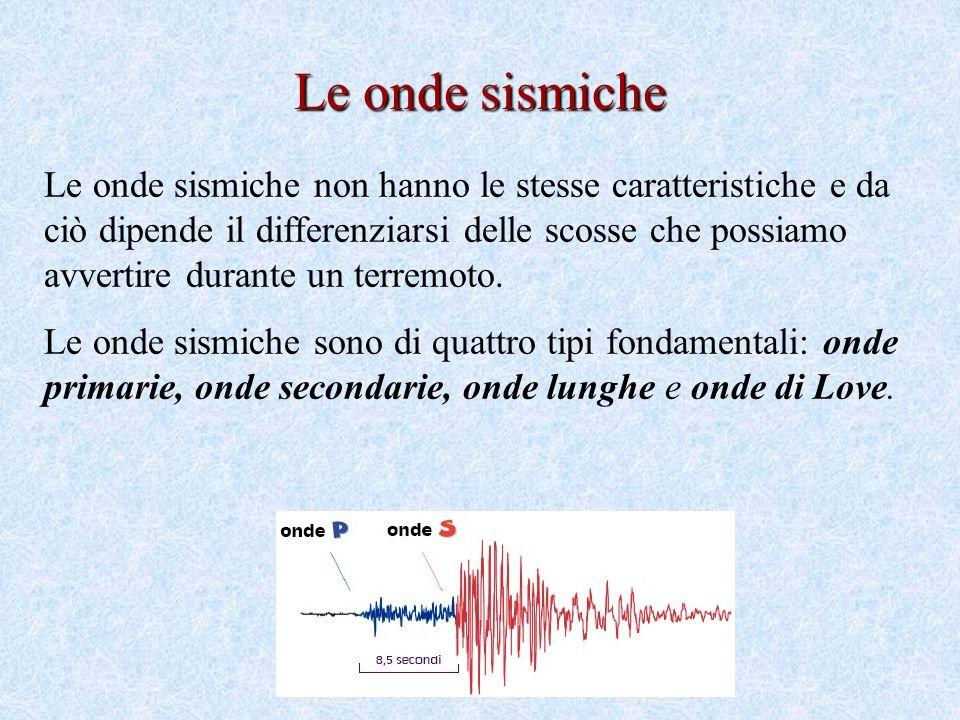 Le onde sismiche non hanno le stesse caratteristiche e da ciò dipende il differenziarsi delle scosse che possiamo avvertire durante un terremoto.