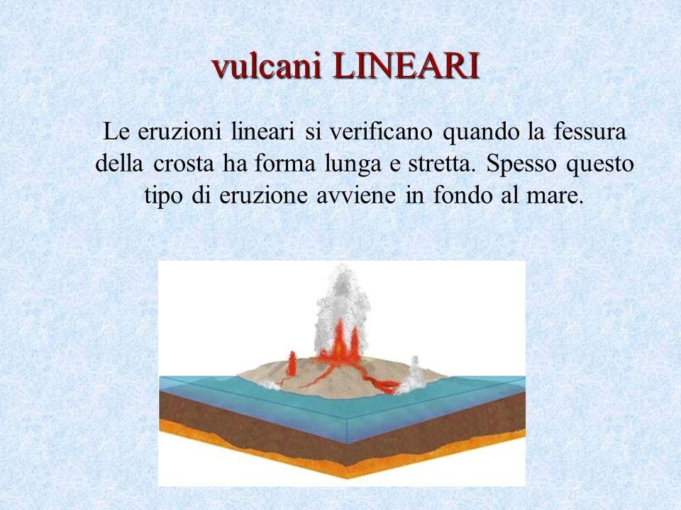 Le eruzioni lineari si verificano quando la fessura della crosta ha forma lunga e stretta.