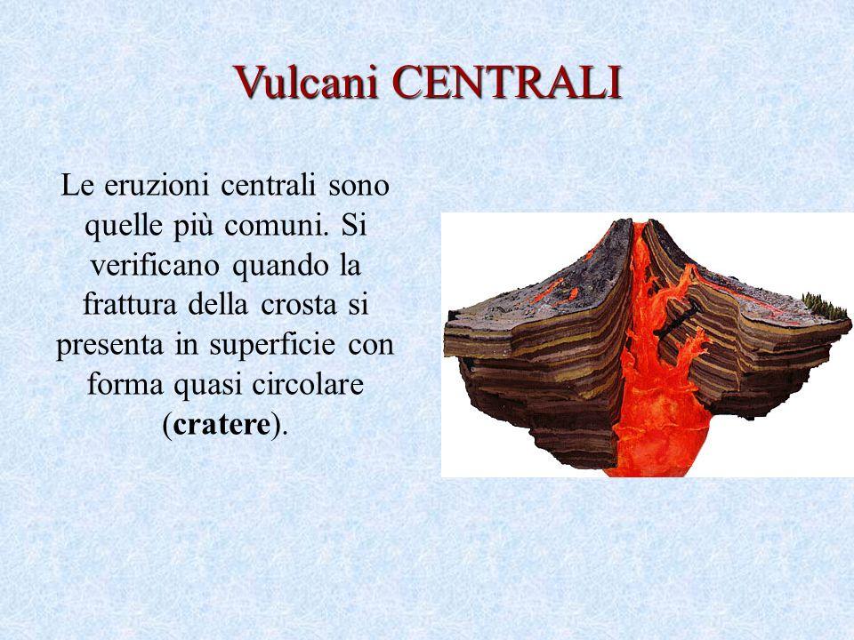 Le eruzioni centrali sono quelle più comuni.