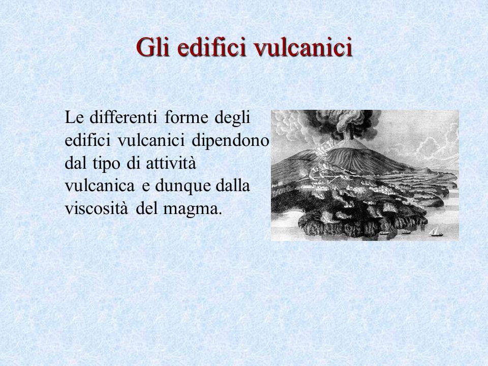 Le differenti forme degli edifici vulcanici dipendono dal tipo di attività vulcanica e dunque dalla viscosità del magma.