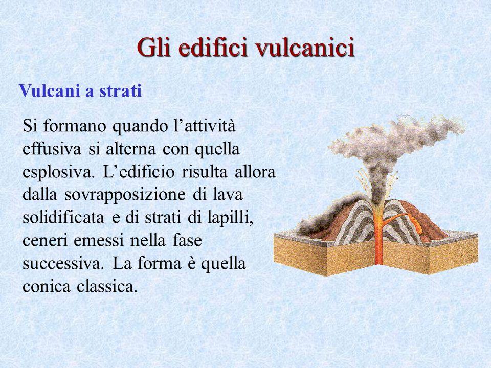Vulcani a strati Si formano quando lattività effusiva si alterna con quella esplosiva.