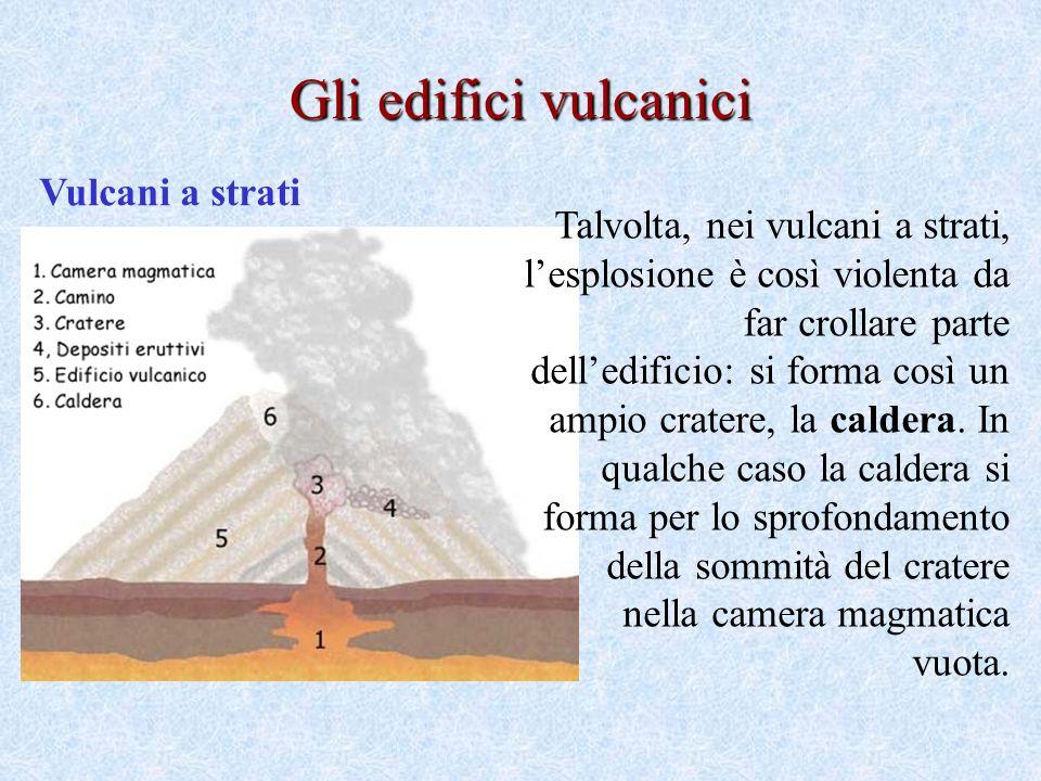 Vulcani a strati Gli edifici vulcanici Talvolta, nei vulcani a strati, lesplosione è così violenta da far crollare parte delledificio: si forma così un ampio cratere, la caldera.
