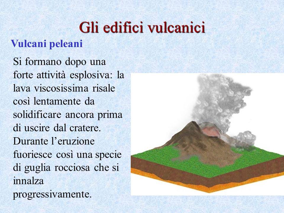 Vulcani peleani Gli edifici vulcanici Si formano dopo una forte attività esplosiva: la lava viscosissima risale così lentamente da solidificare ancora prima di uscire dal cratere.