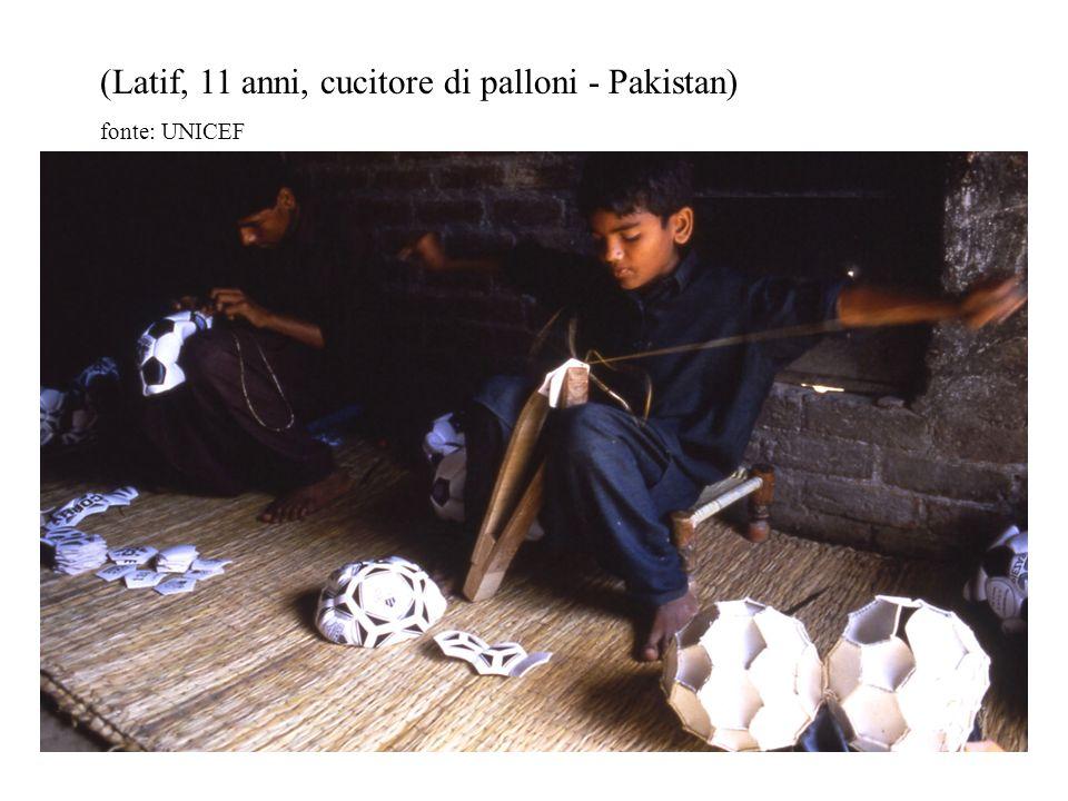 (Latif, 11 anni, cucitore di palloni - Pakistan) fonte: UNICEF