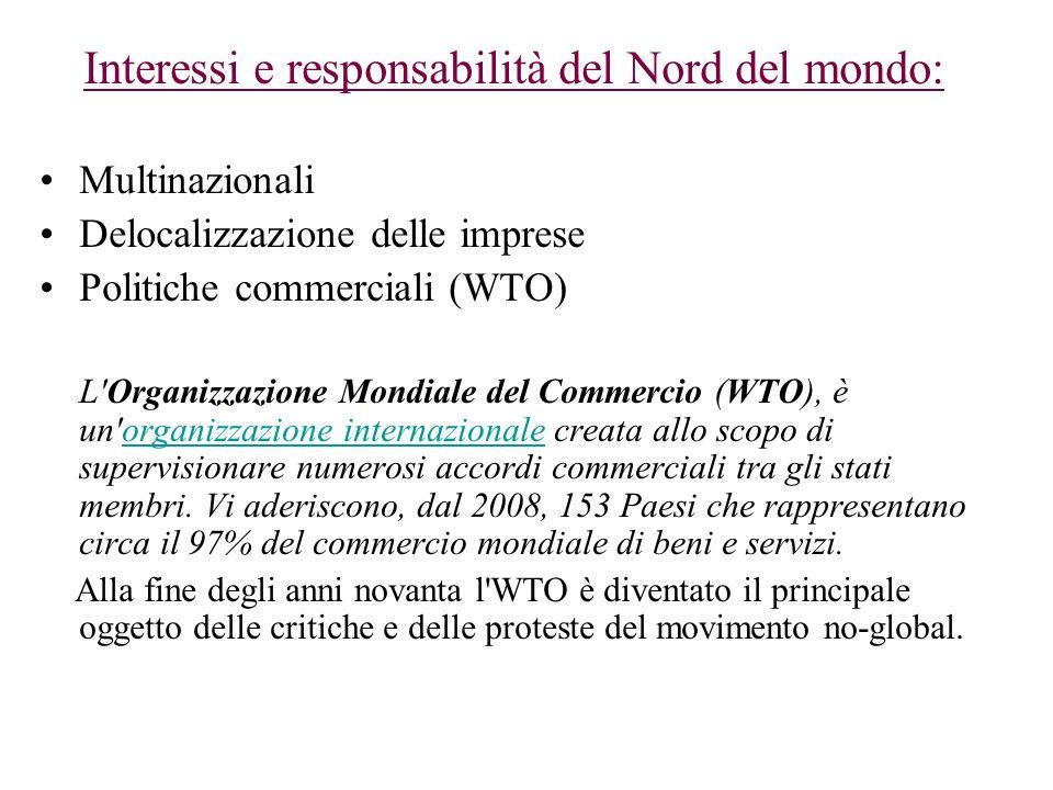 Interessi e responsabilità del Nord del mondo: Multinazionali Delocalizzazione delle imprese Politiche commerciali (WTO) L'Organizzazione Mondiale del