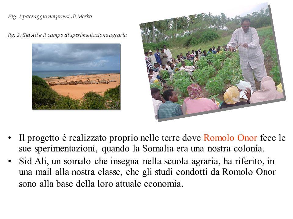 Fig. 1 paesaggio nei pressi di Merka fig. 2. Sid Ali e il campo di sperimentazione agraria Il progetto è realizzato proprio nelle terre dove Romolo On