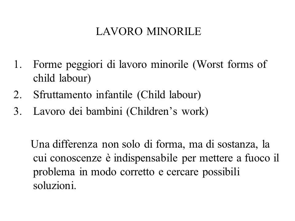 LAVORO MINORILE 1.Forme peggiori di lavoro minorile (Worst forms of child labour) 2.Sfruttamento infantile (Child labour) 3.Lavoro dei bambini (Childr