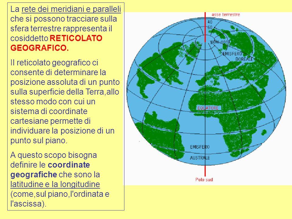 La rete dei meridiani e paralleli che si possono tracciare sulla sfera terrestre rappresenta il cosiddetto RETICOLATO GEOGRAFICO. Il reticolato geogra