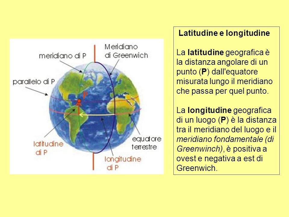 Latitudine e longitudine La latitudine geografica è la distanza angolare di un punto (P) dall'equatore misurata lungo il meridiano che passa per quel