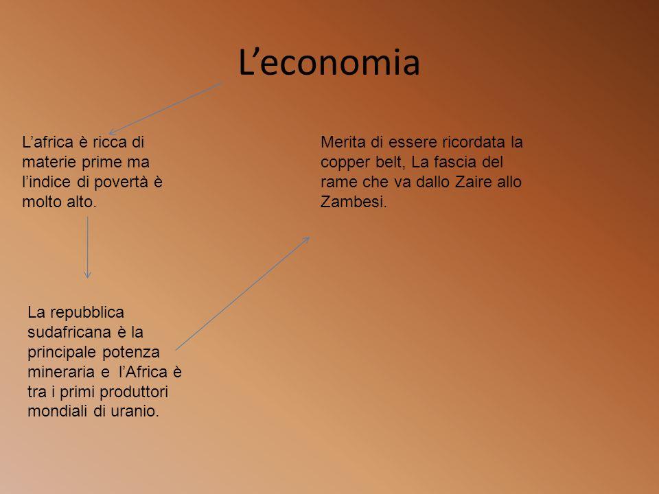 Leconomia Lafrica è ricca di materie prime ma lindice di povertà è molto alto. La repubblica sudafricana è la principale potenza mineraria e lAfrica è
