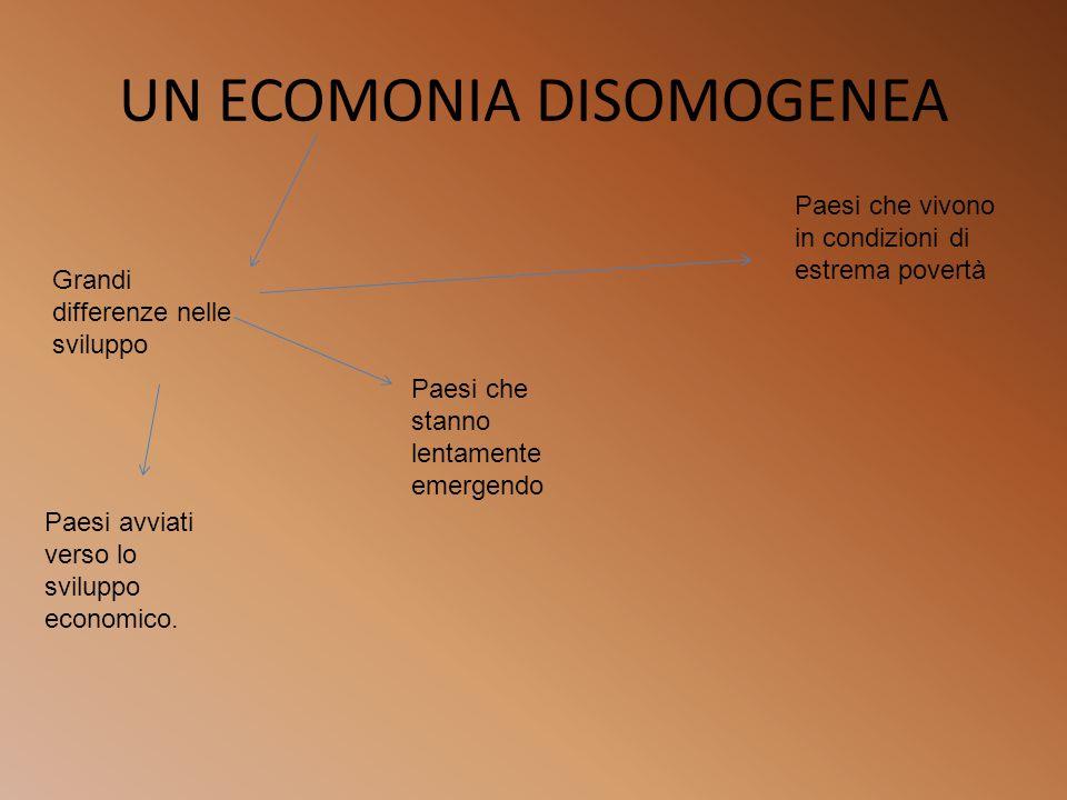 UN ECOMONIA DISOMOGENEA Grandi differenze nelle sviluppo Paesi avviati verso lo sviluppo economico. Paesi che stanno lentamente emergendo Paesi che vi