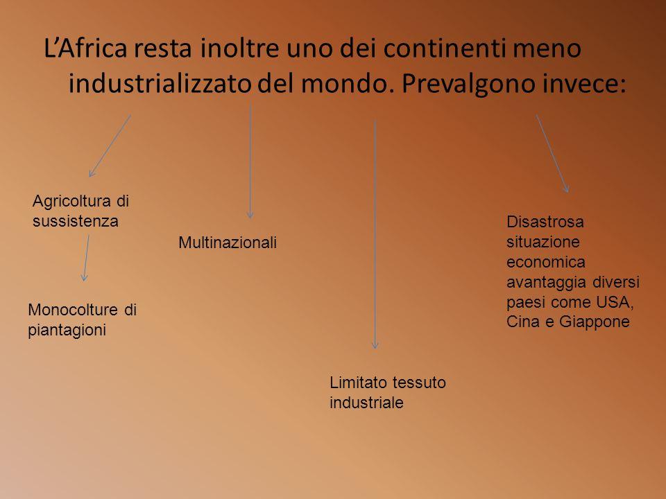 LAfrica resta inoltre uno dei continenti meno industrializzato del mondo. Prevalgono invece: Agricoltura di sussistenza Monocolture di piantagioni Mul