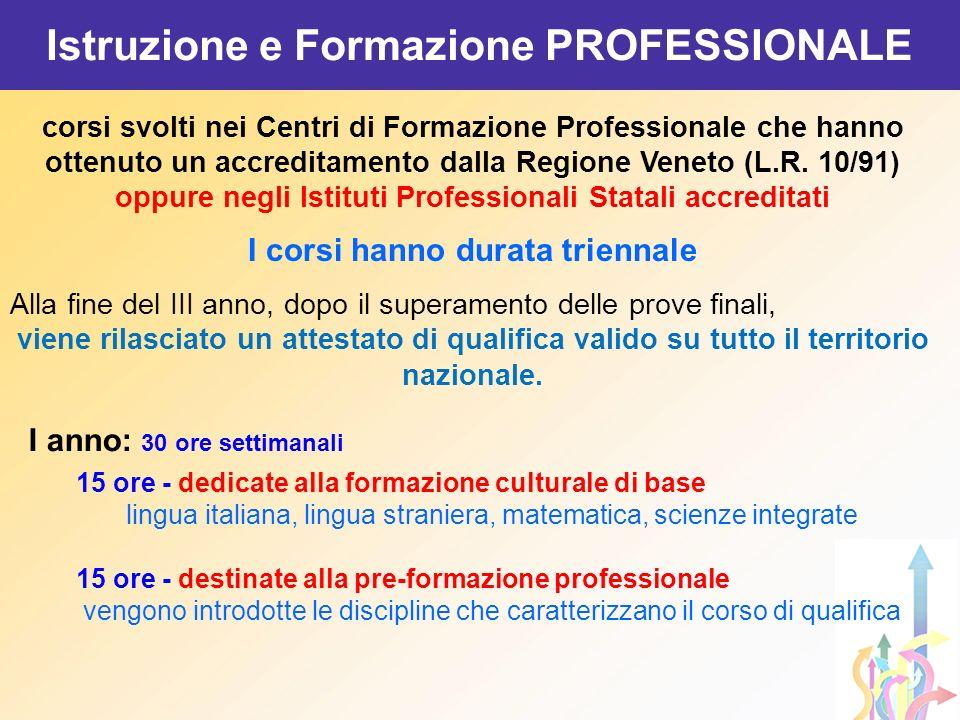 corsi svolti nei Centri di Formazione Professionale che hanno ottenuto un accreditamento dalla Regione Veneto (L.R. 10/91) oppure negli Istituti Profe