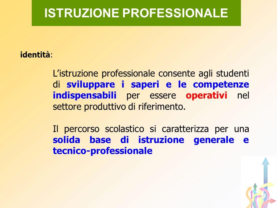 identità: Listruzione professionale consente agli studenti di sviluppare i saperi e le competenze indispensabili per essere operativi nel settore prod