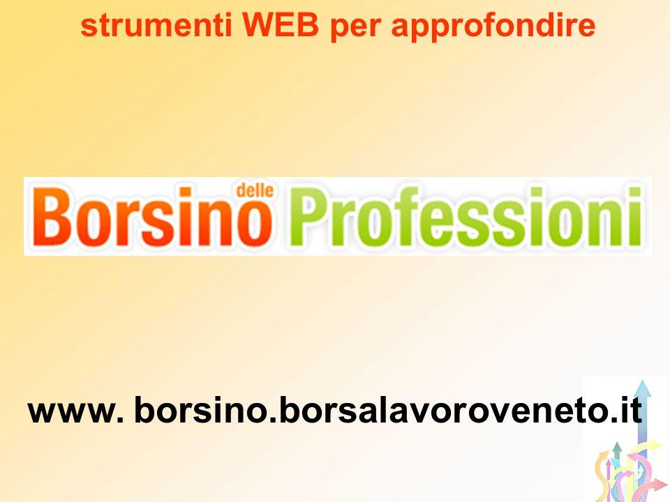 strumenti WEB per approfondire www. borsino.borsalavoroveneto.it