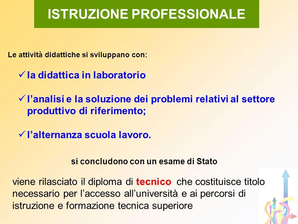 Le attività didattiche si sviluppano con: la didattica in laboratorio lanalisi e la soluzione dei problemi relativi al settore produttivo di riferimen