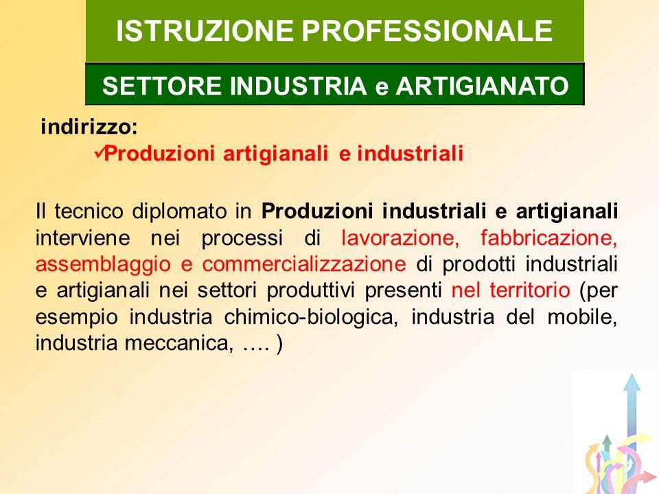 indirizzo: Produzioni artigianali e industriali ISTRUZIONE PROFESSIONALE Il tecnico diplomato in Produzioni industriali e artigianali interviene nei p