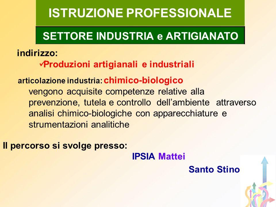 indirizzo: Produzioni artigianali e industriali ISTRUZIONE PROFESSIONALE articolazione industria: chimico-biologico vengono acquisite competenze relat