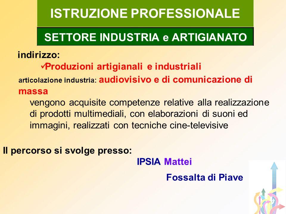 indirizzo: Produzioni artigianali e industriali ISTRUZIONE PROFESSIONALE articolazione industria: audiovisivo e di comunicazione di massa vengono acqu