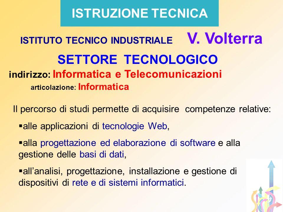 SETTORE TECNOLOGICO indirizzo: Informatica e Telecomunicazioni articolazione: Informatica Il percorso di studi permette di acquisire competenze relati