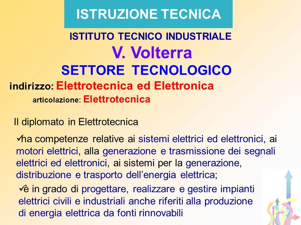 ISTRUZIONE TECNICA SETTORE TECNOLOGICO indirizzo: Elettrotecnica ed Elettronica articolazione: Elettrotecnica ISTITUTO TECNICO INDUSTRIALE V. Volterra