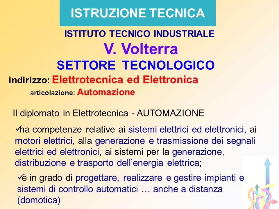 ISTRUZIONE TECNICA SETTORE TECNOLOGICO indirizzo: Elettrotecnica ed Elettronica articolazione: Automazione ISTITUTO TECNICO INDUSTRIALE V. Volterra Il