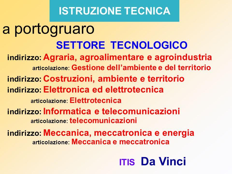 ISTRUZIONE TECNICA a portogruaro SETTORE TECNOLOGICO indirizzo: Agraria, agroalimentare e agroindustria indirizzo: Costruzioni, ambiente e territorio