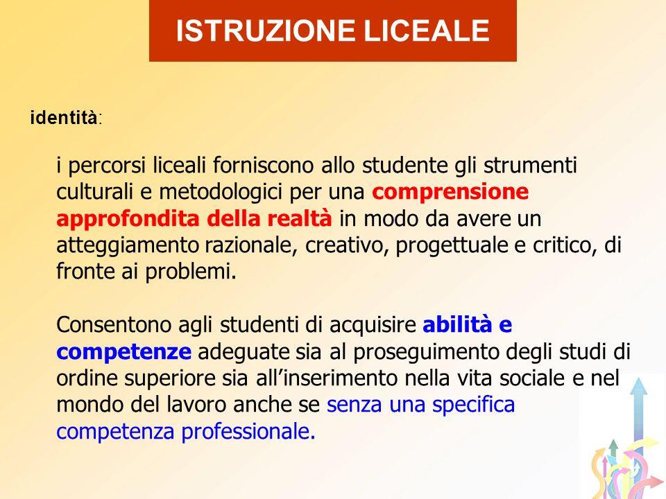 identità: i percorsi liceali forniscono allo studente gli strumenti culturali e metodologici per una comprensione approfondita della realtà in modo da