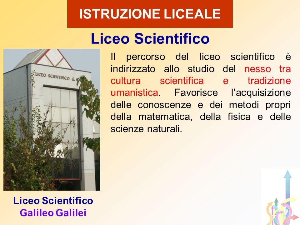 Liceo Scientifico Galileo Galilei Il percorso del liceo scientifico è indirizzato allo studio del nesso tra cultura scientifica e tradizione umanistic