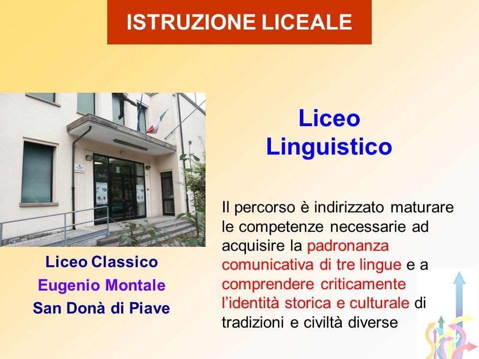 ISTRUZIONE LICEALE Liceo Linguistico Il percorso è indirizzato maturare le competenze necessarie ad acquisire la padronanza comunicativa di tre lingue