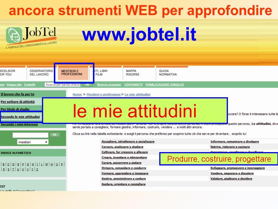 www.jobtel.it ancora strumenti WEB per approfondire le mie attitudini Produrre, costruire, progettare