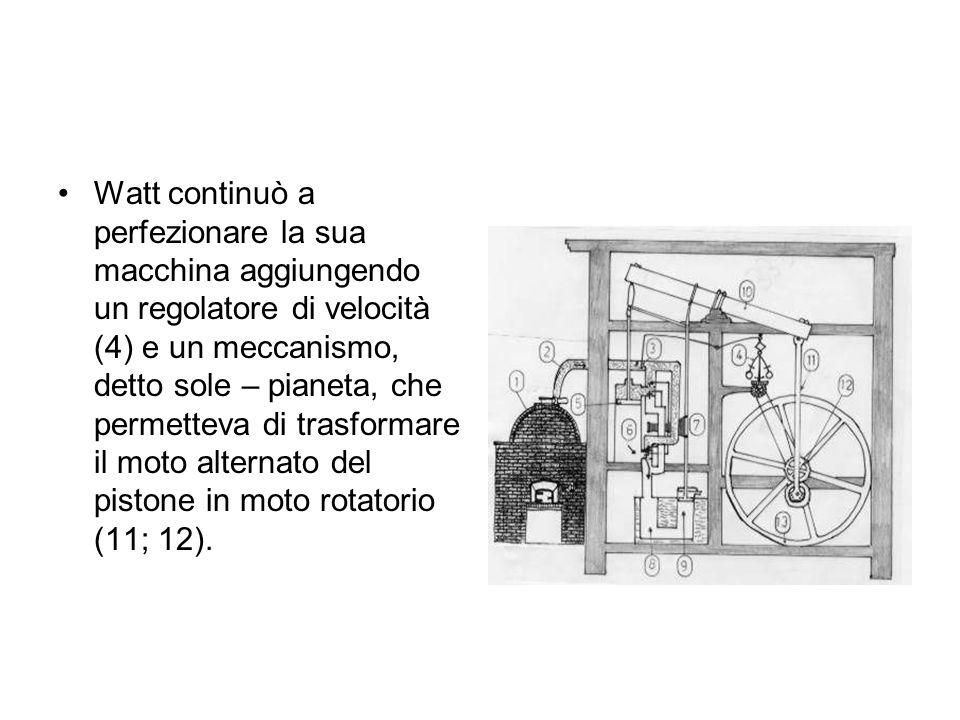 Watt continuò a perfezionare la sua macchina aggiungendo un regolatore di velocità (4) e un meccanismo, detto sole – pianeta, che permetteva di trasfo