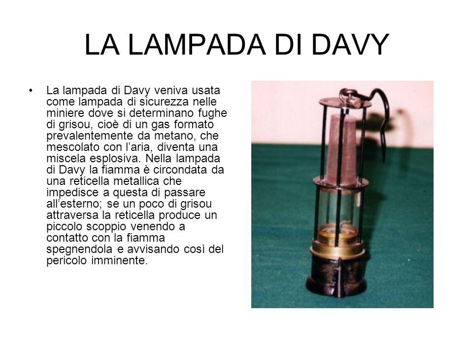 LA LAMPADA DI DAVY La lampada di Davy veniva usata come lampada di sicurezza nelle miniere dove si determinano fughe di grisou, cioè di un gas formato