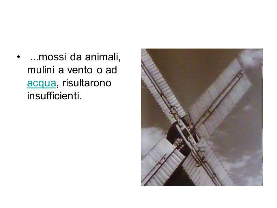 ...mossi da animali, mulini a vento o ad acqua, risultarono insufficienti. acqua