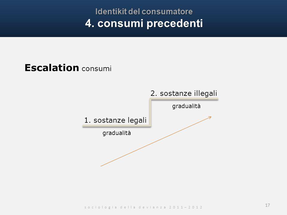 Identikit del consumatore 4. consumi precedenti s o c i o l o g i a d e l l a d e v i a n z a 2 0 1 1 – 2 0 1 2 17 Escalation consumi 1. sostanze lega