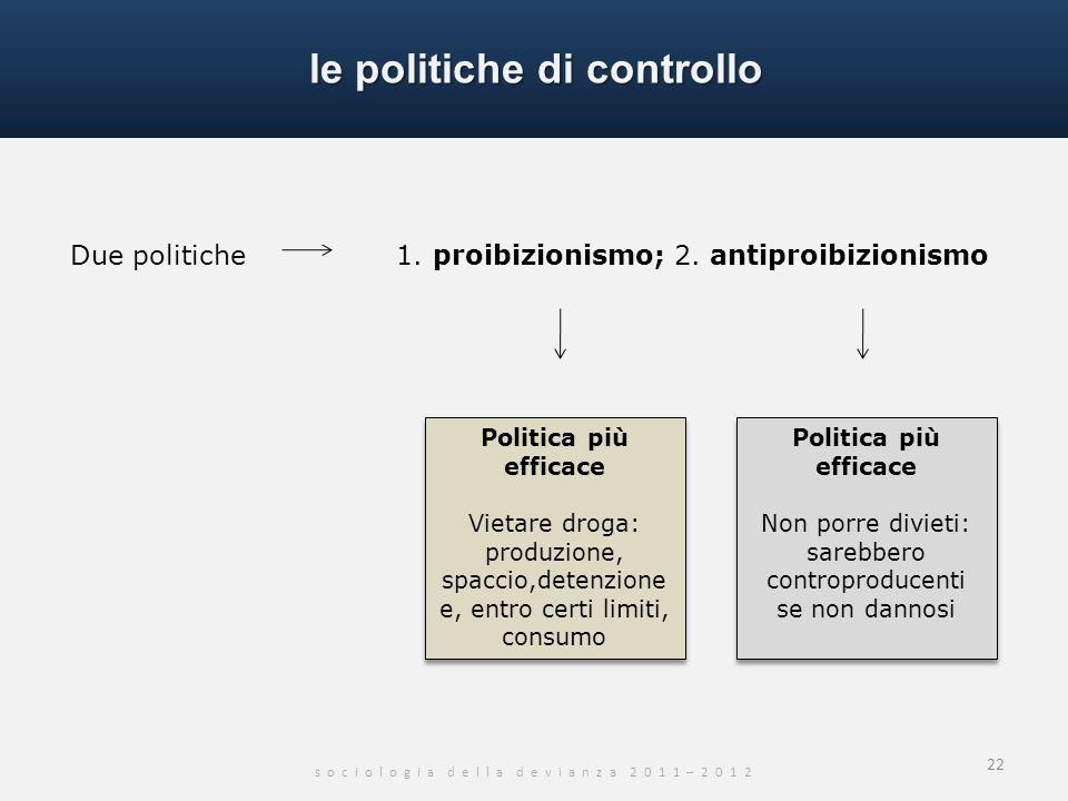 le politiche di controllo s o c i o l o g i a d e l l a d e v i a n z a 2 0 1 1 – 2 0 1 2 22 Due politiche 1. proibizionismo; 2. antiproibizionismo Po