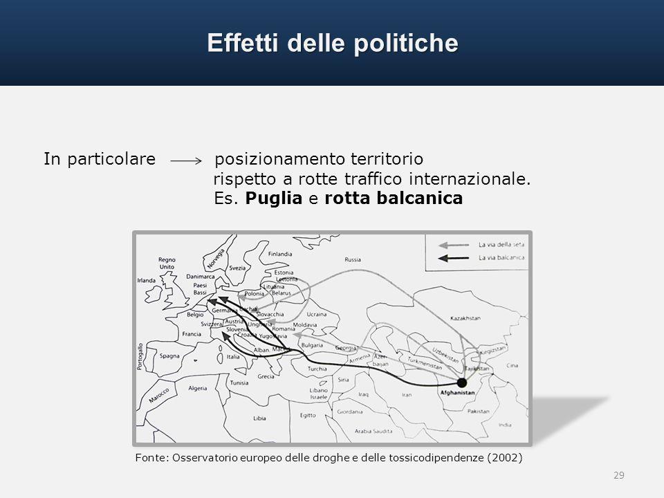 29 In particolare posizionamento territorio rispetto a rotte traffico internazionale. Es. Puglia e rotta balcanica Effetti delle politiche Fonte: Osse