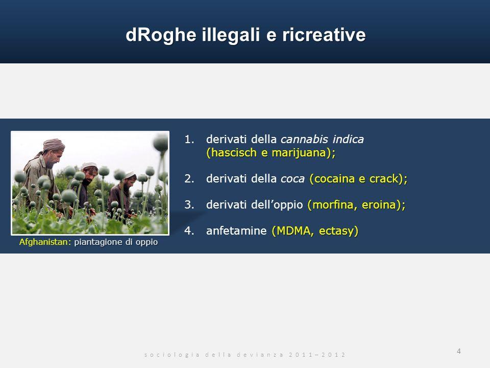 dRoghe illegali e ricreative s o c i o l o g i a d e l l a d e v i a n z a 2 0 1 1 – 2 0 1 2 (hascisch e marijuana); 1. derivati della cannabis indica