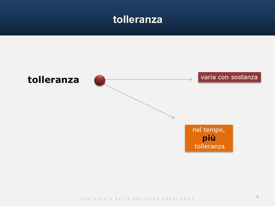 tolleranza s o c i o l o g i a d e l l a d e v i a n z a 2 0 1 1 – 2 0 1 2 6 tolleranza nel tempo, più tolleranza varia con sostanza