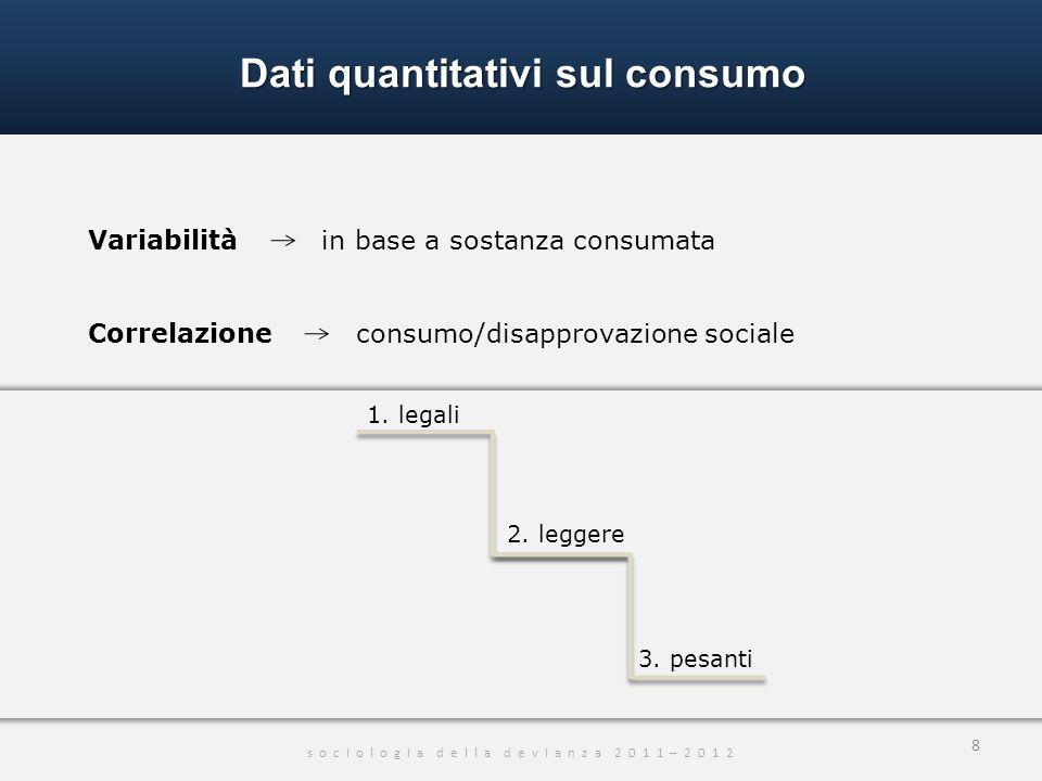 Dati quantitativi sul consumo s o c i o l o g i a d e l l a d e v i a n z a 2 0 1 1 – 2 0 1 2 8 Variabilità in base a sostanza consumata Correlazione