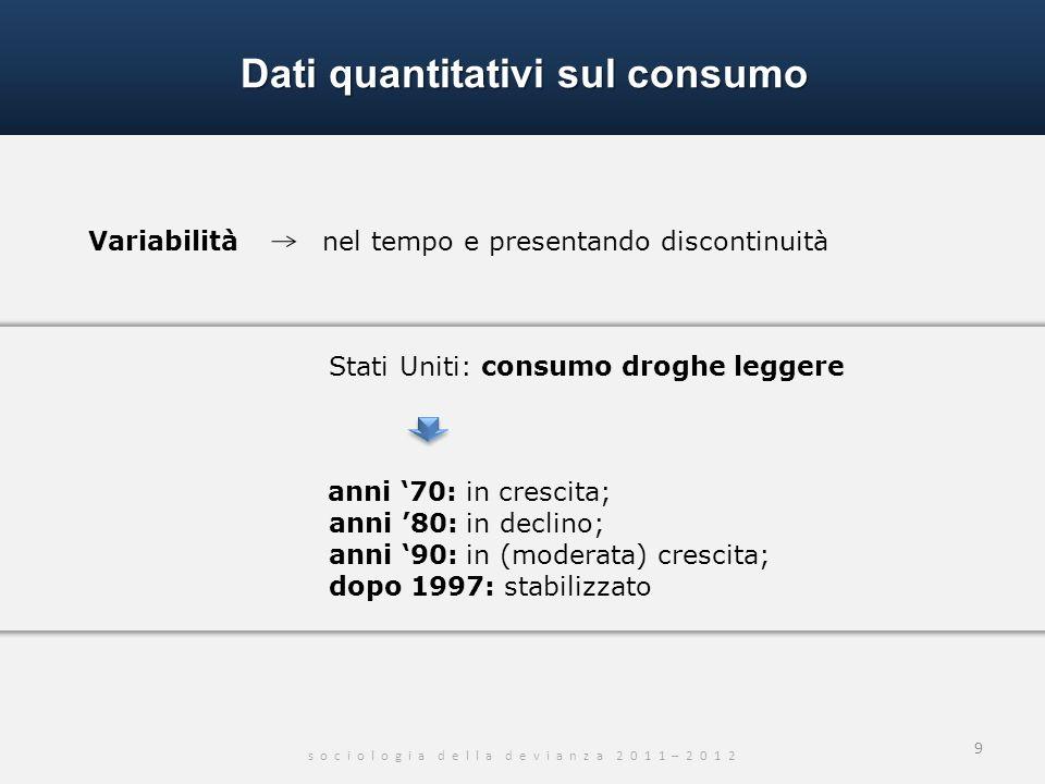 Dati quantitativi sul consumo s o c i o l o g i a d e l l a d e v i a n z a 2 0 1 1 – 2 0 1 2 9 Variabilità nel tempo e presentando discontinuità Stat