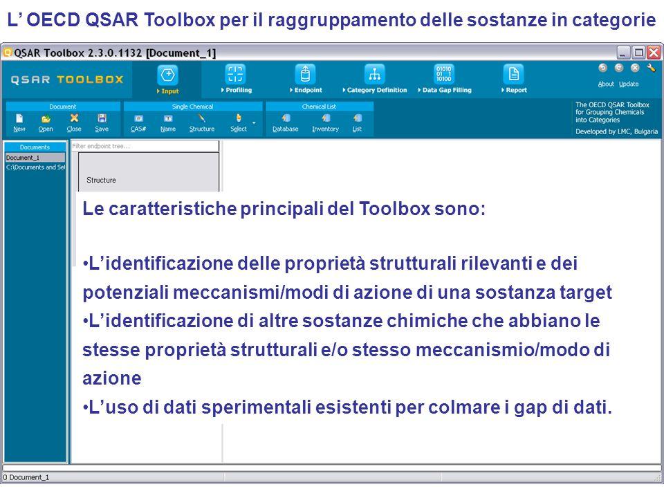 L OECD QSAR Toolbox per il raggruppamento delle sostanze in categorie Le caratteristiche principali del Toolbox sono: Lidentificazione delle proprietà