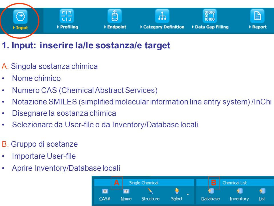 1. Input: inserire la/le sostanza/e target A. Singola sostanza chimica Nome chimico Numero CAS (Chemical Abstract Services) Notazione SMILES (simplifi