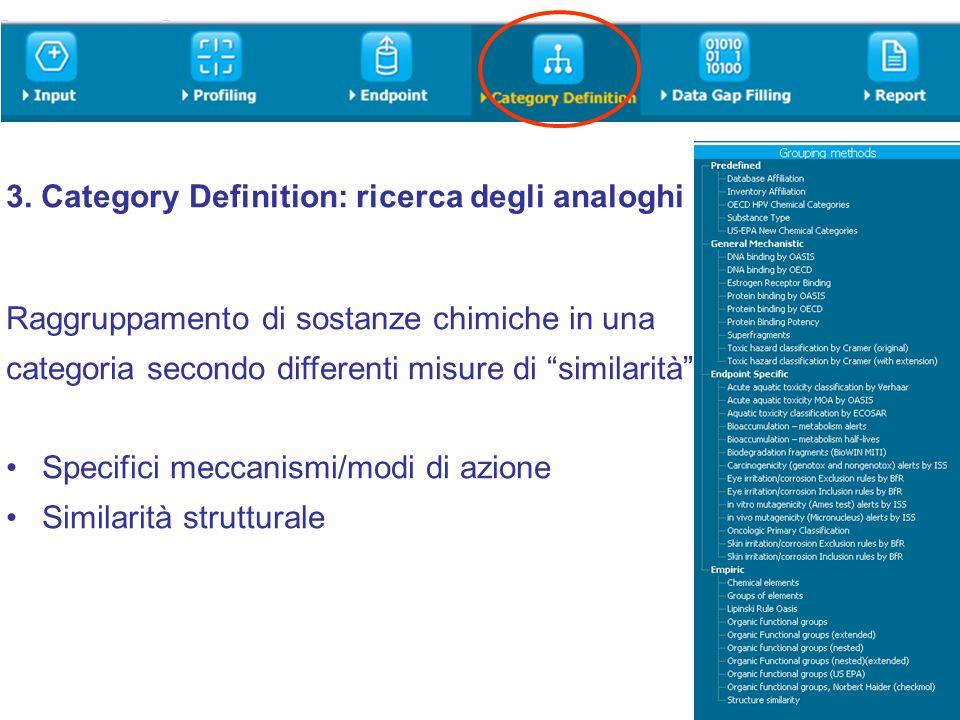 3. Category Definition: ricerca degli analoghi Raggruppamento di sostanze chimiche in una categoria secondo differenti misure di similarità: Specifici