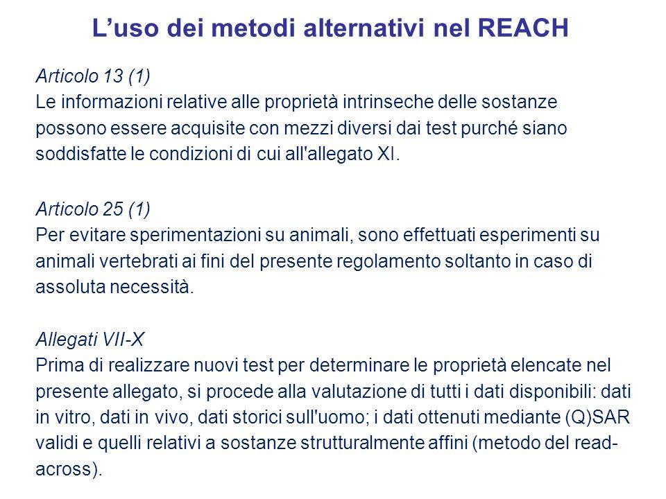 Luso dei metodi alternativi nel REACH Articolo 13 (1) Le informazioni relative alle proprietà intrinseche delle sostanze possono essere acquisite con