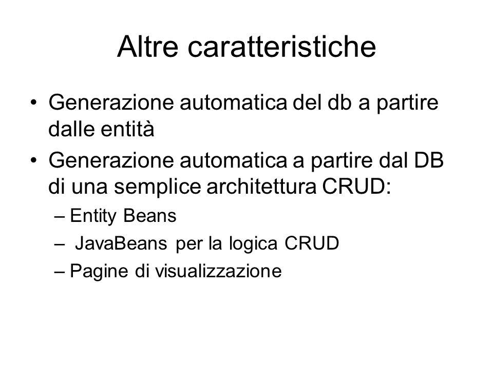 Altre caratteristiche Generazione automatica del db a partire dalle entità Generazione automatica a partire dal DB di una semplice architettura CRUD: