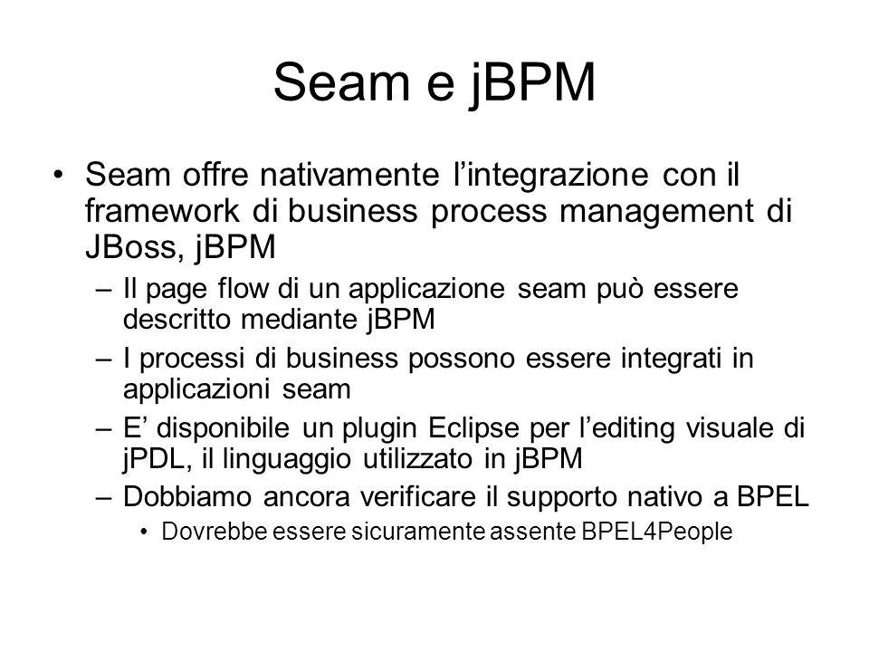 Seam e jBPM Seam offre nativamente lintegrazione con il framework di business process management di JBoss, jBPM –Il page flow di un applicazione seam