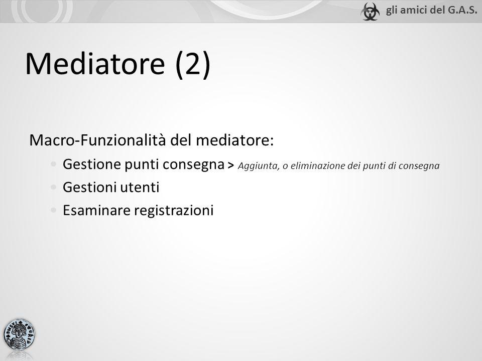 Mediatore (2) Macro-Funzionalità del mediatore: Gestione punti consegna > Aggiunta, o eliminazione dei punti di consegna Gestioni utenti Esaminare reg
