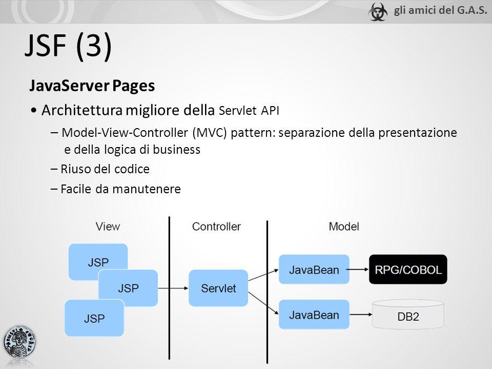 JSF (3) JavaServer Pages Architettura migliore della Servlet API – Model-View-Controller (MVC) pattern: separazione della presentazione e della logica di business – Riuso del codice – Facile da manutenere