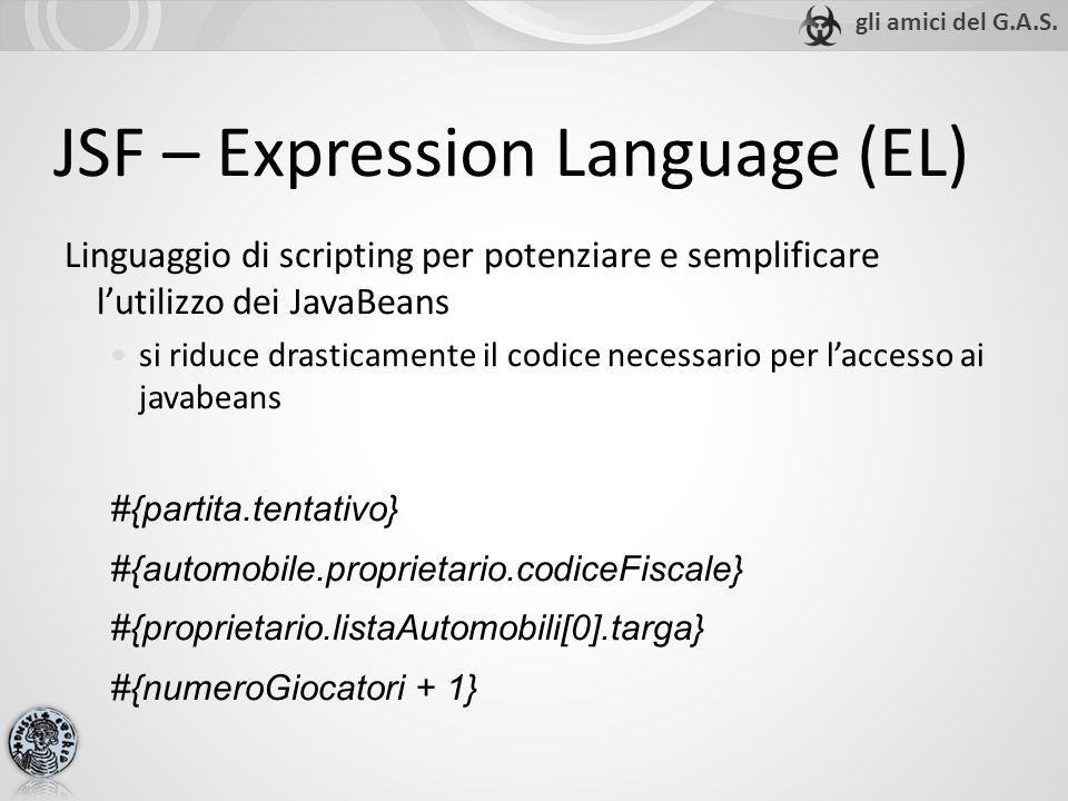 JSF – Expression Language (EL) Linguaggio di scripting per potenziare e semplificare lutilizzo dei JavaBeans si riduce drasticamente il codice necessa